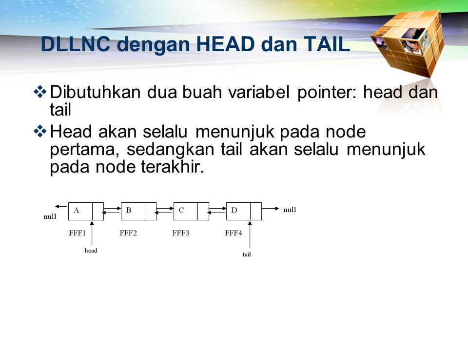 DLLNC dengan HEAD dan TAIL  Dibutuhkan dua buah variabel pointer: head dan tail  Head akan selalu menunjuk pada node pertama, sedangkan tail akan se