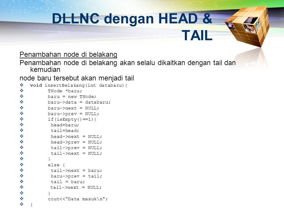 DLLNC dengan HEAD & TAIL Penambahan node di belakang Penambahan node di belakang akan selalu dikaitkan dengan tail dan kemudian node baru tersebut aka