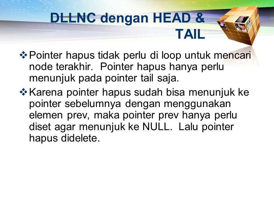 DLLNC dengan HEAD & TAIL  Pointer hapus tidak perlu di loop untuk mencari node terakhir. Pointer hapus hanya perlu menunjuk pada pointer tail saja. 