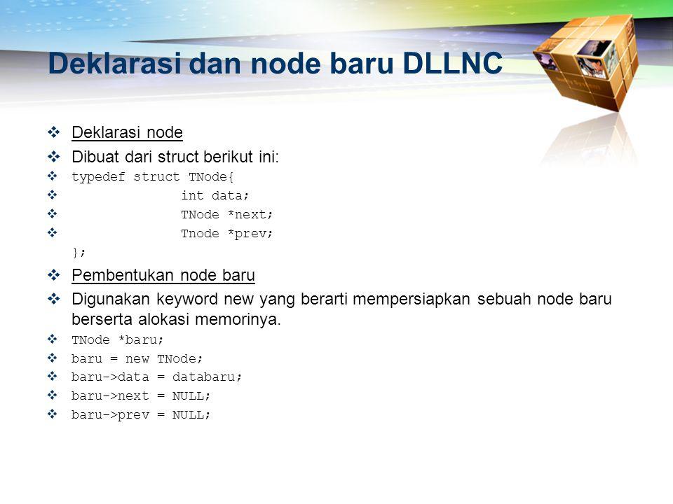 Deklarasi dan node baru DLLNC  Deklarasi node  Dibuat dari struct berikut ini:  typedef struct TNode{  int data;  TNode *next;  Tnode *prev; };