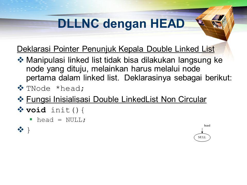 DLLNC dengan HEAD Deklarasi Pointer Penunjuk Kepala Double Linked List  Manipulasi linked list tidak bisa dilakukan langsung ke node yang dituju, mel