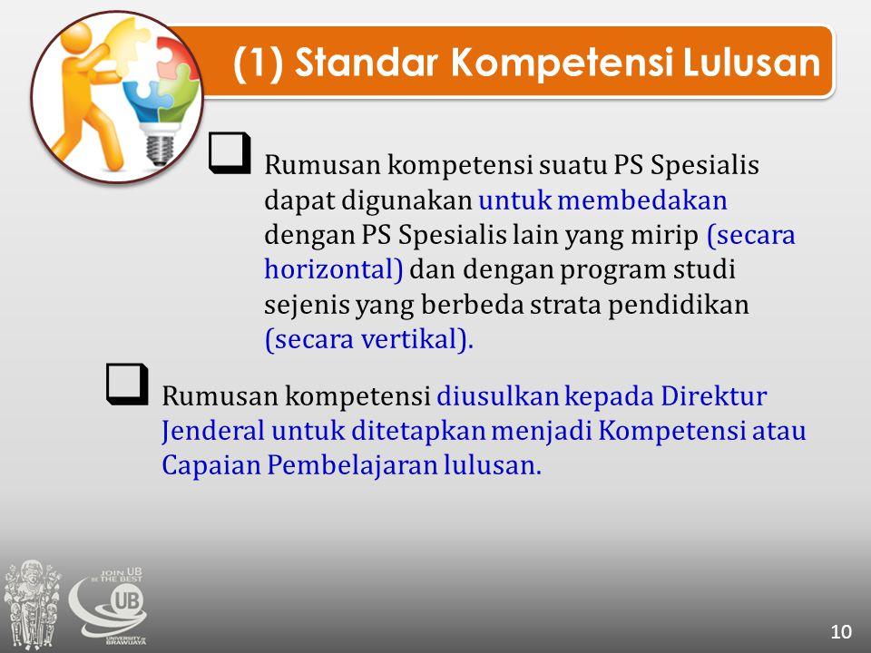 (1) Standar Kompetensi Lulusan 10  Rumusan kompetensi suatu PS Spesialis dapat digunakan untuk membedakan dengan PS Spesialis lain yang mirip (secara