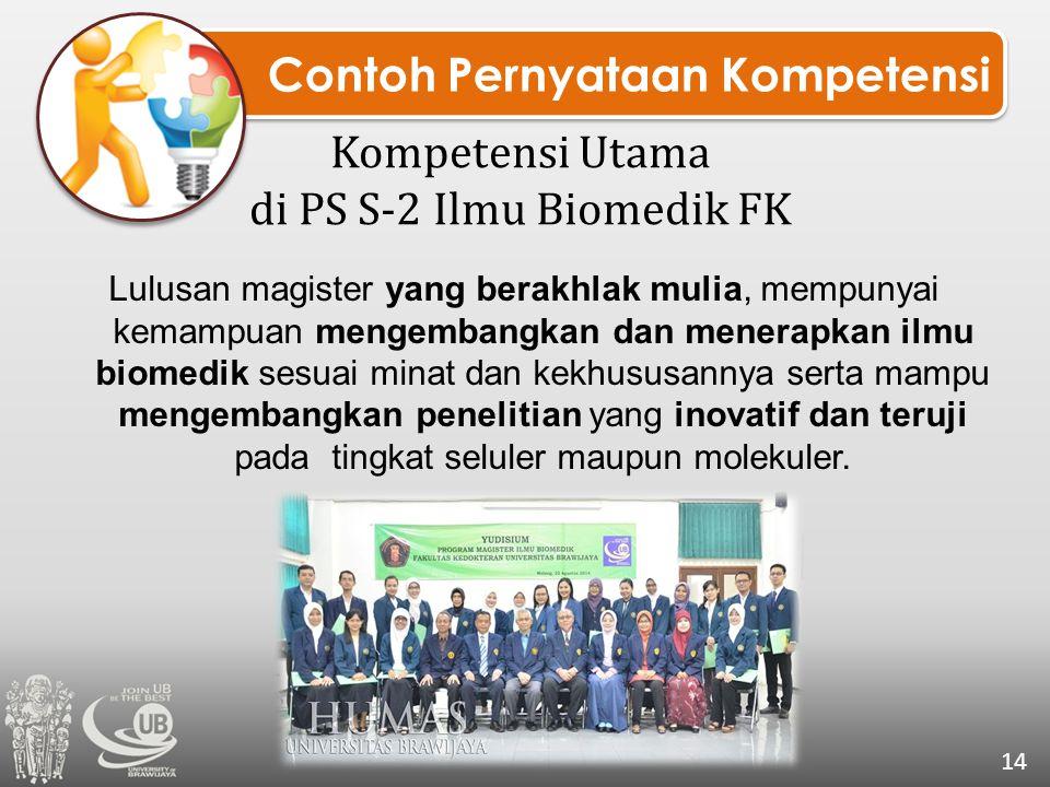 Contoh Pernyataan Kompetensi Kompetensi Utama di PS S-2 Ilmu Biomedik FK Lulusan magister yang berakhlak mulia, mempunyai kemampuan mengembangkan dan