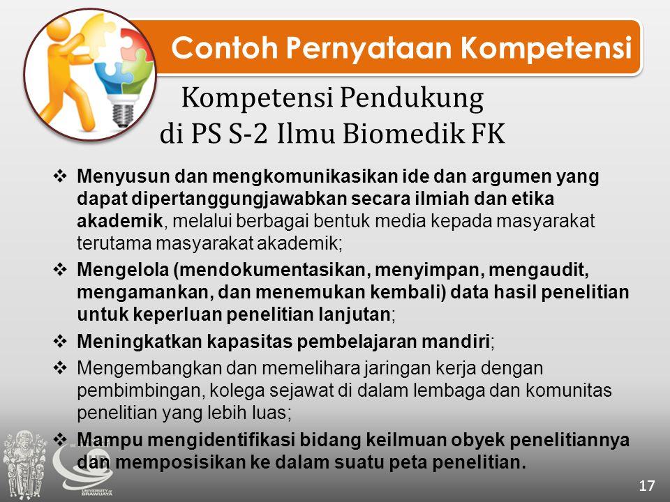 Contoh Pernyataan Kompetensi Kompetensi Pendukung di PS S-2 Ilmu Biomedik FK 17  Menyusun dan mengkomunikasikan ide dan argumen yang dapat dipertangg