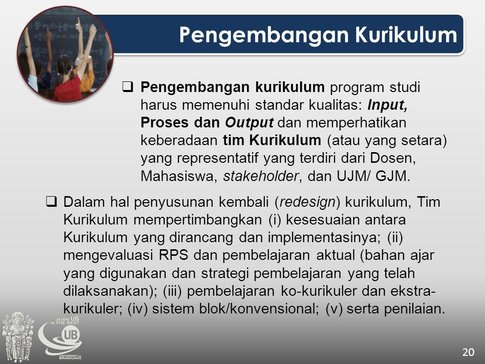 Pengembangan Kurikulum 20  Pengembangan kurikulum program studi harus memenuhi standar kualitas: Input, Proses dan Output dan memperhatikan keberadaa