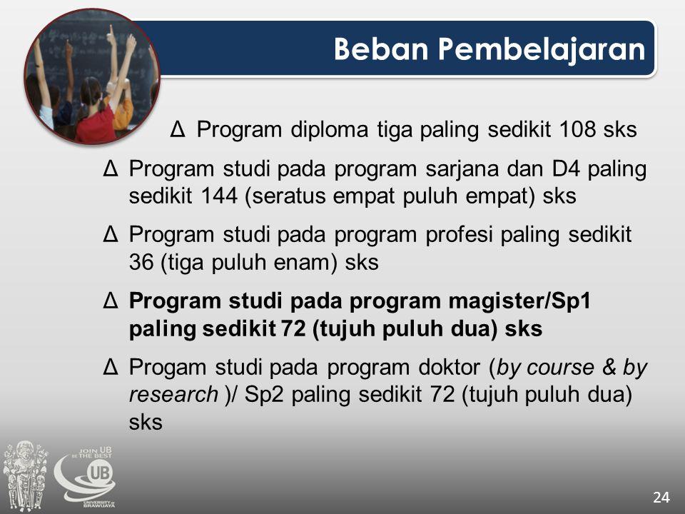 Beban Pembelajaran 24 ΔProgram diploma tiga paling sedikit 108 sks ΔProgram studi pada program sarjana dan D4 paling sedikit 144 (seratus empat puluh