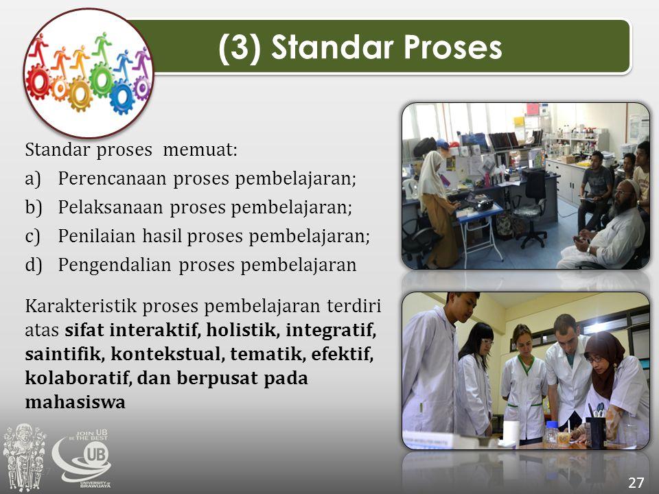 Standar proses memuat: a)Perencanaan proses pembelajaran; b)Pelaksanaan proses pembelajaran; c)Penilaian hasil proses pembelajaran; d)Pengendalian pro