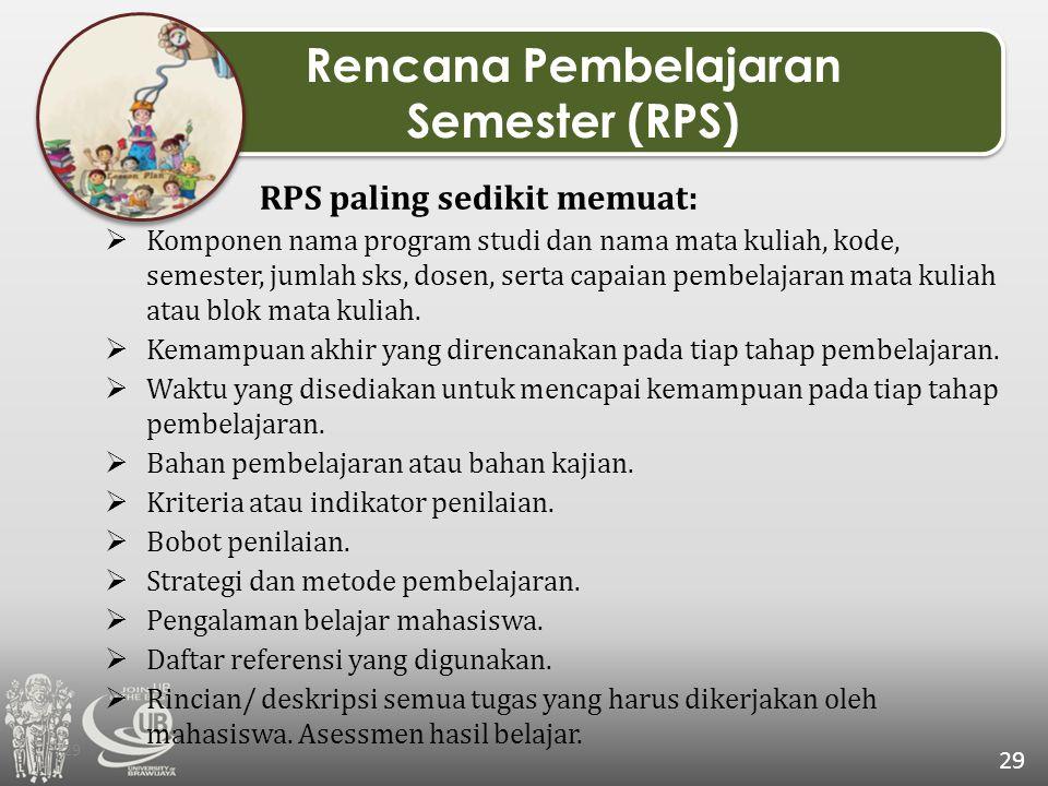29 Rencana Pembelajaran Semester (RPS) Rencana Pembelajaran Semester (RPS) RPS paling sedikit memuat:  Komponen nama program studi dan nama mata kuli
