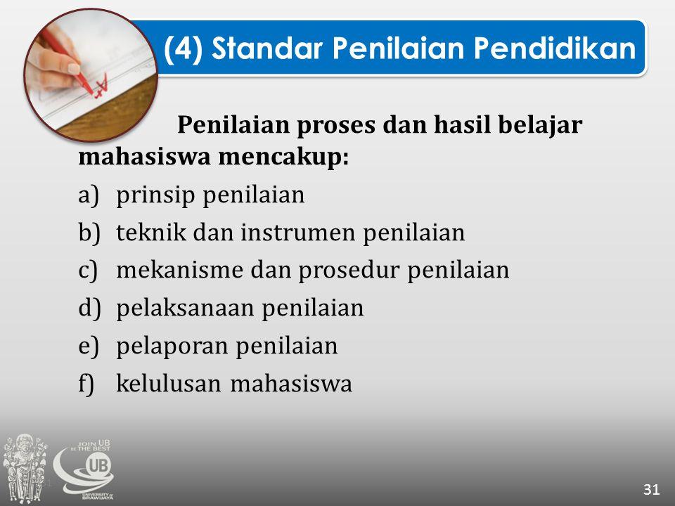 Penilaian proses dan hasil belajar mahasiswa mencakup: a)prinsip penilaian b)teknik dan instrumen penilaian c)mekanisme dan prosedur penilaian d)pelak
