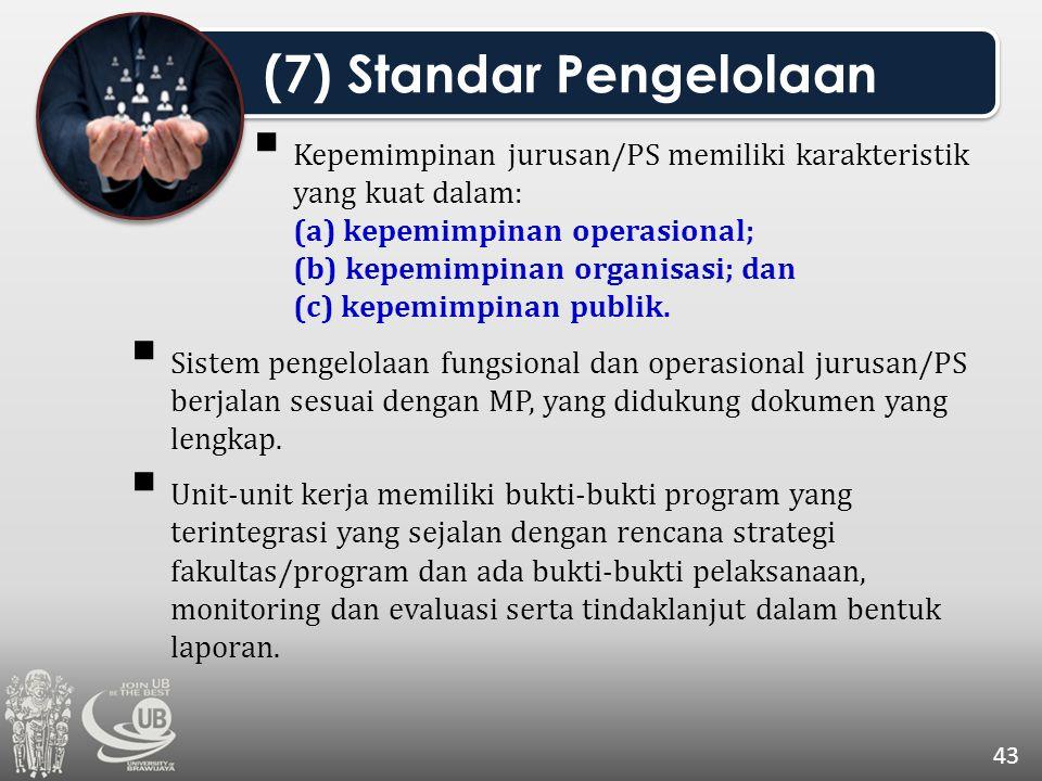  Kepemimpinan jurusan/PS memiliki karakteristik yang kuat dalam: (a) kepemimpinan operasional; (b) kepemimpinan organisasi; dan (c) kepemimpinan publ