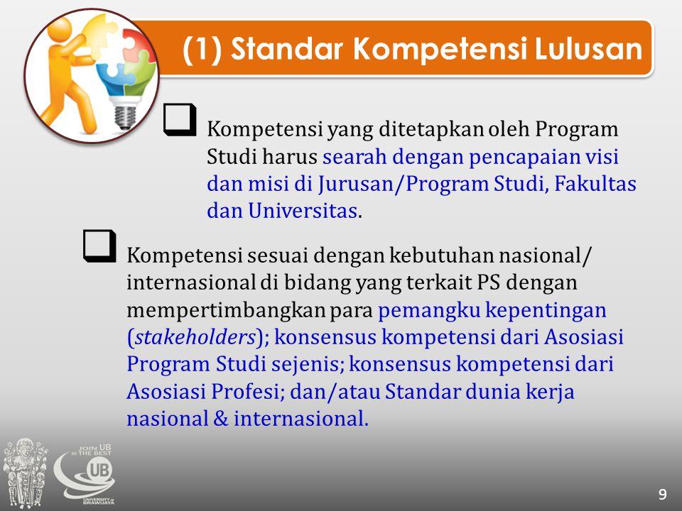 (1) Standar Kompetensi Lulusan 9  Kompetensi yang ditetapkan oleh Program Studi harus searah dengan pencapaian visi dan misi di Jurusan/Program Studi