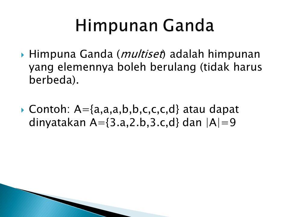  Himpuna Ganda (multiset) adalah himpunan yang elemennya boleh berulang (tidak harus berbeda).  Contoh: A={a,a,a,b,b,c,c,c,d} atau dapat dinyatakan