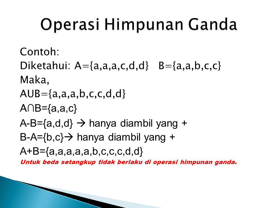 Contoh: Diketahui: A={a,a,a,c,d,d} B={a,a,b,c,c} Maka, AUB={a,a,a,b,c,c,d,d} A ∩B={a,a,c} A-B={a,d,d}  hanya diambil yang + B-A={b,c}  hanya diambil