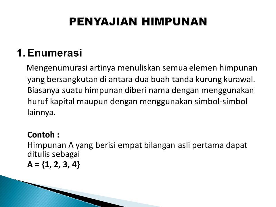 1.Enumerasi Mengenumurasi artinya menuliskan semua elemen himpunan yang bersangkutan di antara dua buah tanda kurung kurawal. Biasanya suatu himpunan