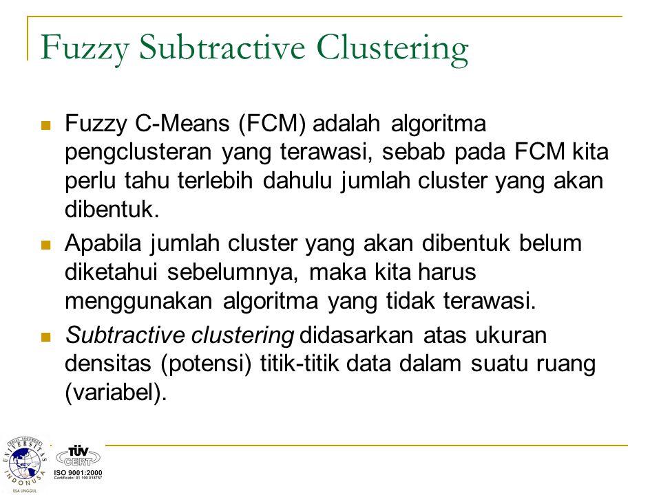Konsep dasar dari subtractive clustering adalah menentukan daerah-daerah dalam suatu variabel yang memiliki densitas tertinggi terhadap titik-titik di sekitarnya.