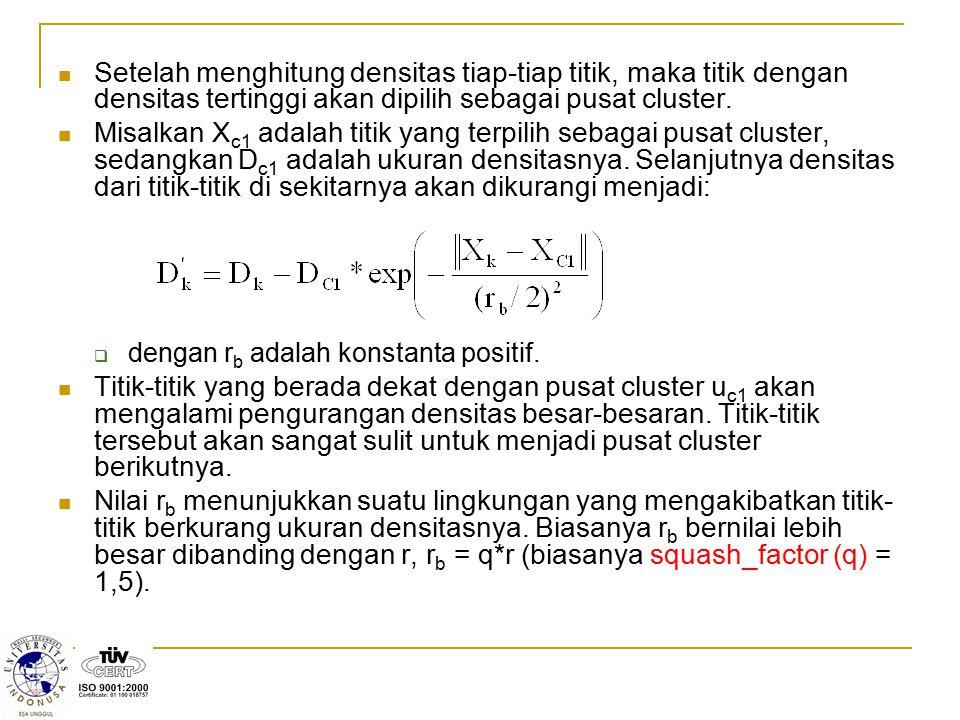  Hitung:  Jika (Md < 0) atau (Sd < Md), maka Md = Sd;  Smd =  Md;  Jika (Rasio + Smd)  1, maka Kondisi = 1; (Data diterima sebagai pusat cluster)  Jika (Rasio + Smd) < 1, maka Kondisi = 2; (Data tidak akan dipertimbangkan kembali sebagai pusat cluster).