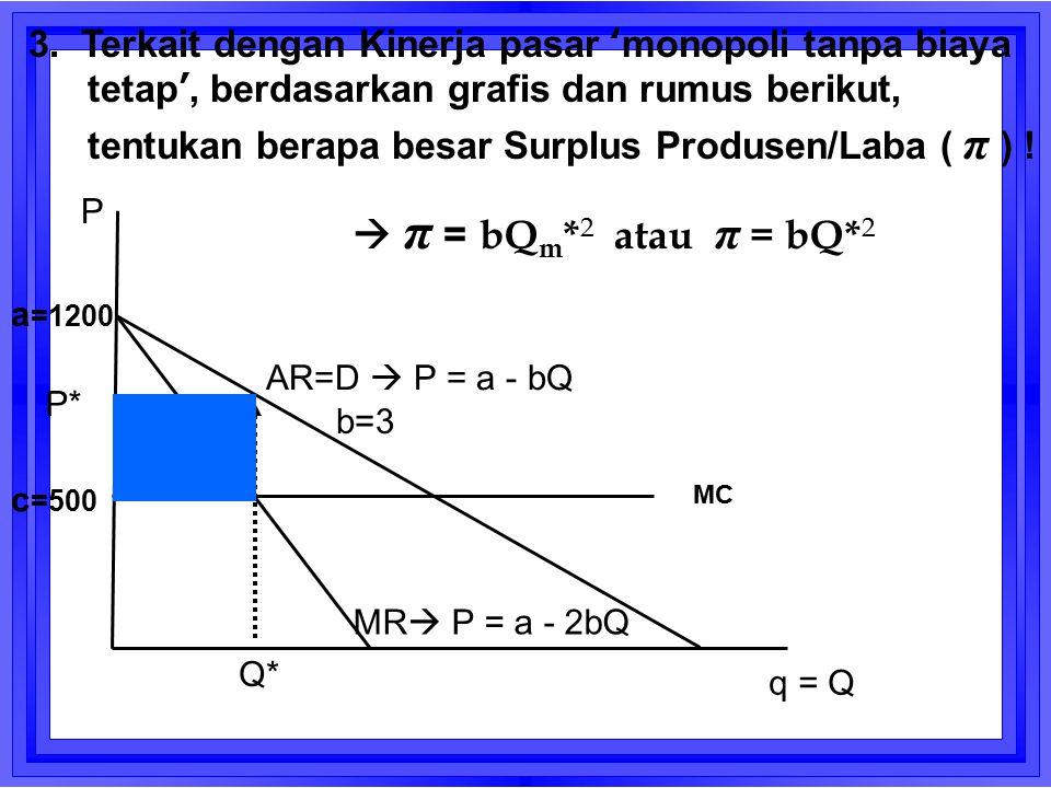 AR=D  P = a - bQ MR  P = a - 2bQ Q* q = Q P P* MC a =1200 c =500 b=3 3. Terkait dengan Kinerja pasar 'monopoli tanpa biaya tetap', berdasarkan grafi