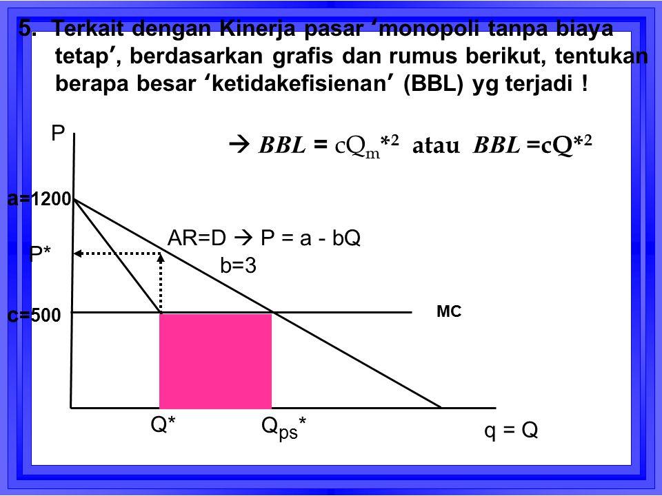 AR=D  P = a - bQ Q* q = Q P P* MC a =1200 c =500 b=3 5. Terkait dengan Kinerja pasar 'monopoli tanpa biaya tetap', berdasarkan grafis dan rumus berik