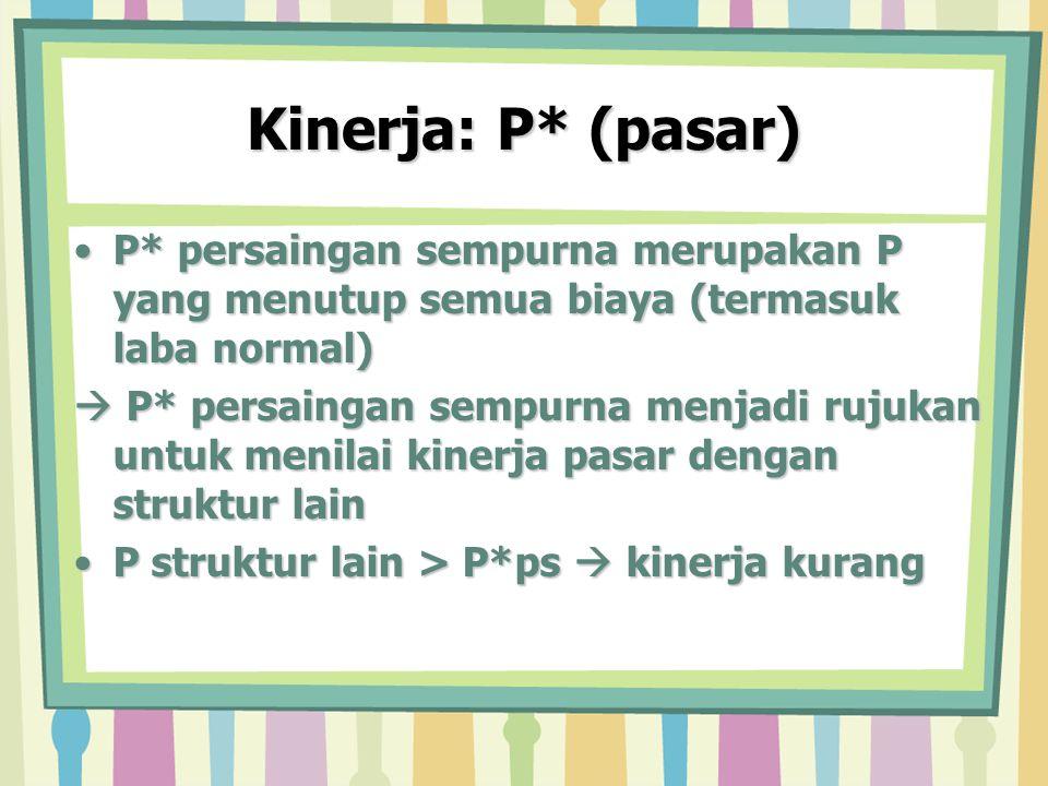Kinerja: P* (pasar) P* persaingan sempurna merupakan P yang menutup semua biaya (termasuk laba normal)P* persaingan sempurna merupakan P yang menutup