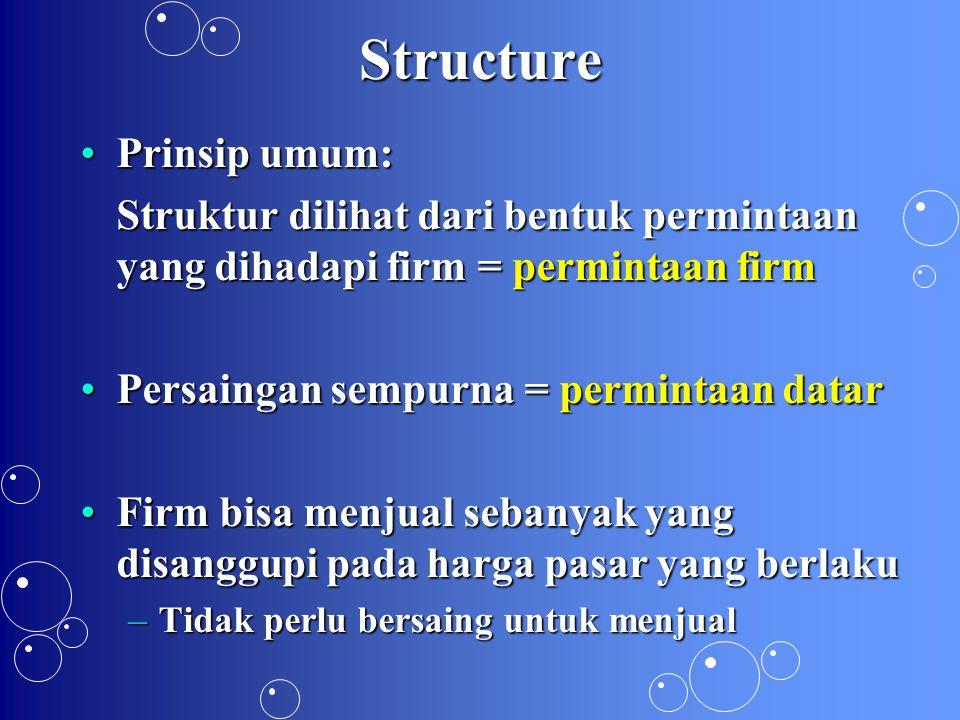 Kinerja: Surplus Konsumen SK* persaingan sempurna merupakan SK maksimal (paling besar) yang dimungkinkanSK* persaingan sempurna merupakan SK maksimal (paling besar) yang dimungkinkan  SK* persaingan sempurna menjadi rujukan untuk menilai kinerja pasar dengan struktur lain SK struktur lain < SK*ps  kinerja kurangSK struktur lain < SK*ps  kinerja kurang