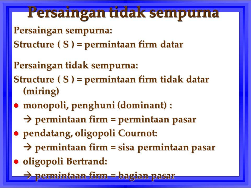 Persaingan tidak sempurna Persaingan sempurna: Structure ( S ) = permintaan firm datar Persaingan tidak sempurna: Structure ( S ) = permintaan firm ti