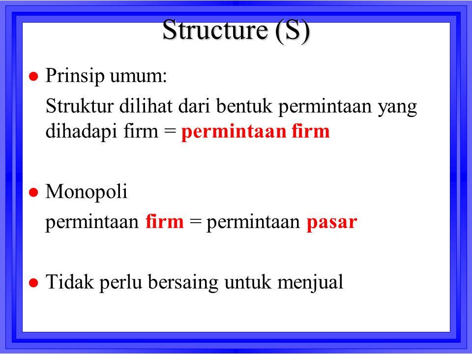 Structure (S) l Prinsip umum: Struktur dilihat dari bentuk permintaan yang dihadapi firm = permintaan firm l Monopoli permintaan firm = permintaan pas