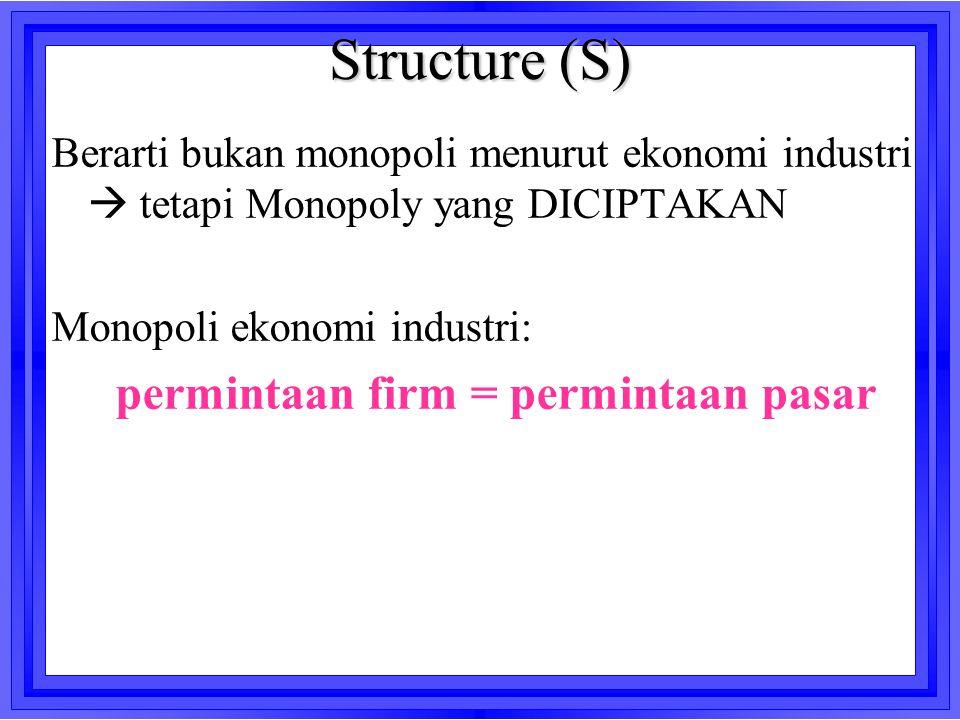 Structure (S) Berarti bukan monopoli menurut ekonomi industri  tetapi Monopoly yang DICIPTAKAN Monopoli ekonomi industri: permintaan firm = permintaa