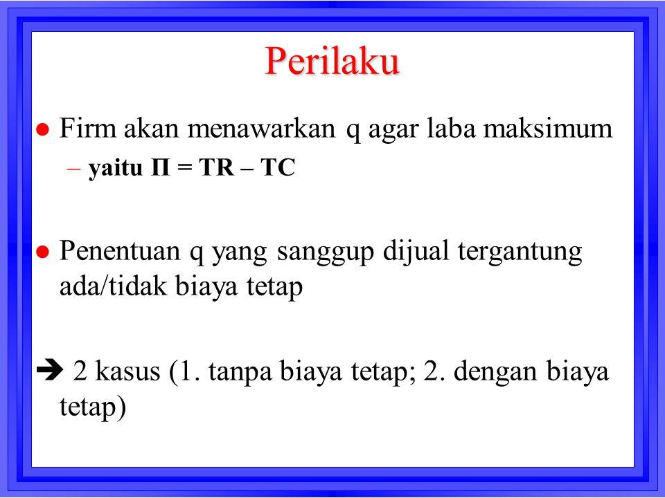 Perilaku l Firm akan menawarkan q agar laba maksimum –yaitu Π = TR – TC l Penentuan q yang sanggup dijual tergantung ada/tidak biaya tetap  2 kasus (