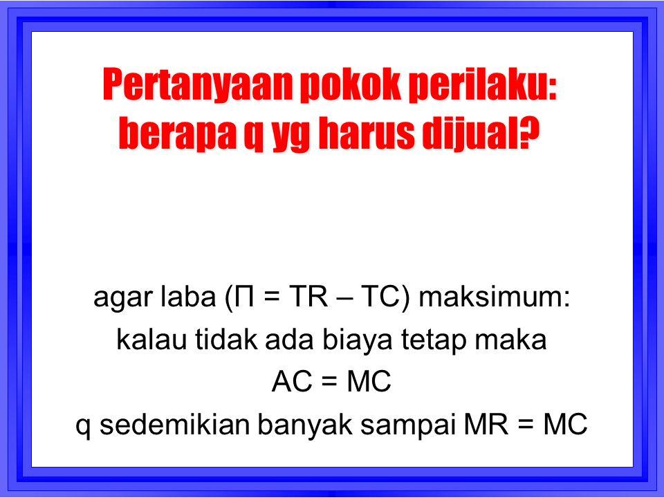 Pertanyaan pokok perilaku: berapa q yg harus dijual? agar laba (Π = TR – TC) maksimum: kalau tidak ada biaya tetap maka AC = MC q sedemikian banyak sa