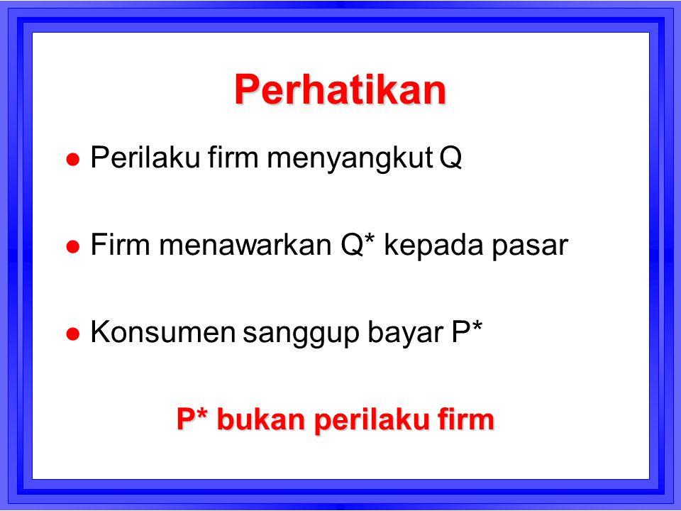 Perhatikan l Perilaku firm menyangkut Q l Firm menawarkan Q* kepada pasar l Konsumen sanggup bayar P* P* bukan perilaku firm