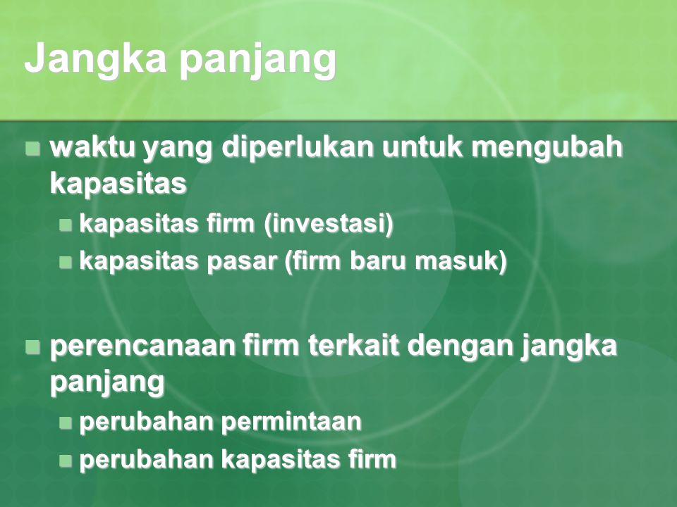 Jangka panjang waktu yang diperlukan untuk mengubah kapasitas waktu yang diperlukan untuk mengubah kapasitas kapasitas firm (investasi) kapasitas firm