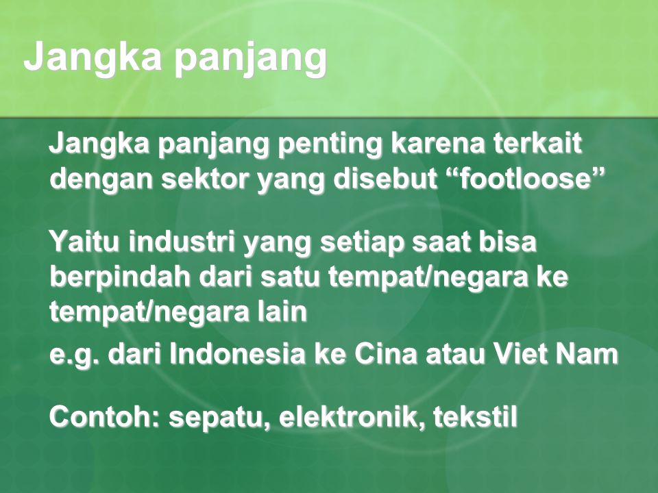 """Jangka panjang penting karena terkait dengan sektor yang disebut """"footloose"""" Jangka panjang penting karena terkait dengan sektor yang disebut """"footloo"""