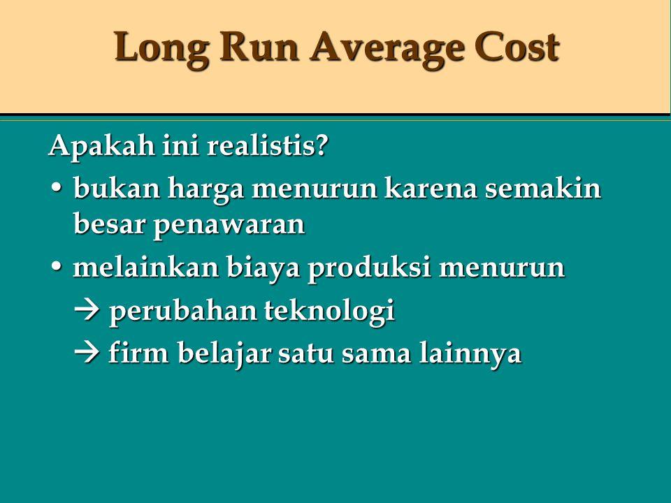 Long Run Average Cost Apakah ini realistis? bukan harga menurun karena semakin besar penawaran bukan harga menurun karena semakin besar penawaran mela