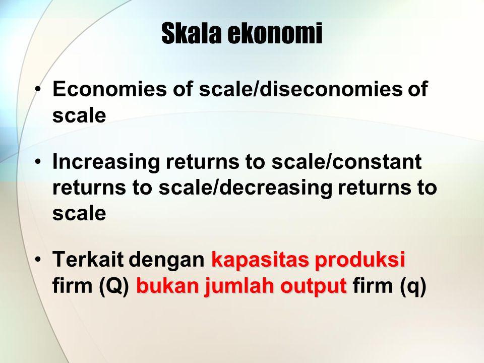 Economies of scale/diseconomies of scale Increasing returns to scale/constant returns to scale/decreasing returns to scale kapasitas produksi bukan ju