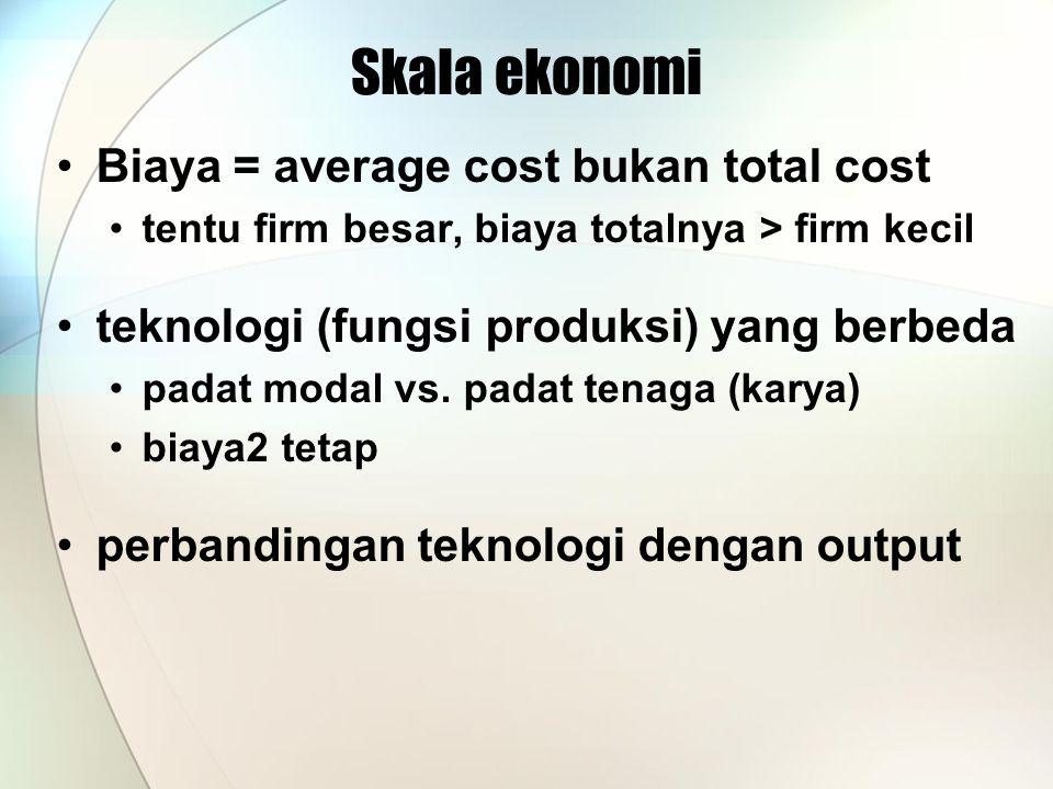 Skala ekonomi Biaya = average cost bukan total cost tentu firm besar, biaya totalnya > firm kecil teknologi (fungsi produksi) yang berbeda padat modal