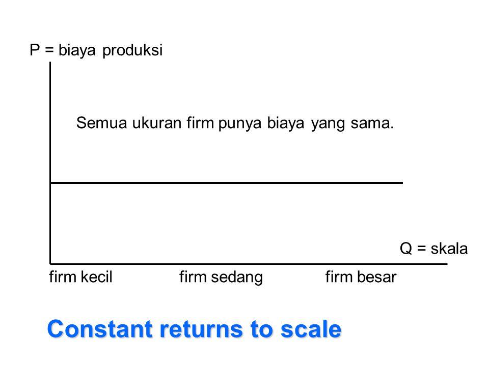 P = biaya produksi Q = skala firm kecilfirm sedangfirm besar Constant returns to scale Semua ukuran firm punya biaya yang sama.