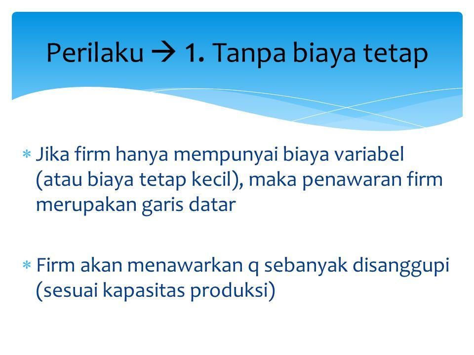  Jika firm hanya mempunyai biaya variabel (atau biaya tetap kecil), maka penawaran firm merupakan garis datar  Firm akan menawarkan q sebanyak disan