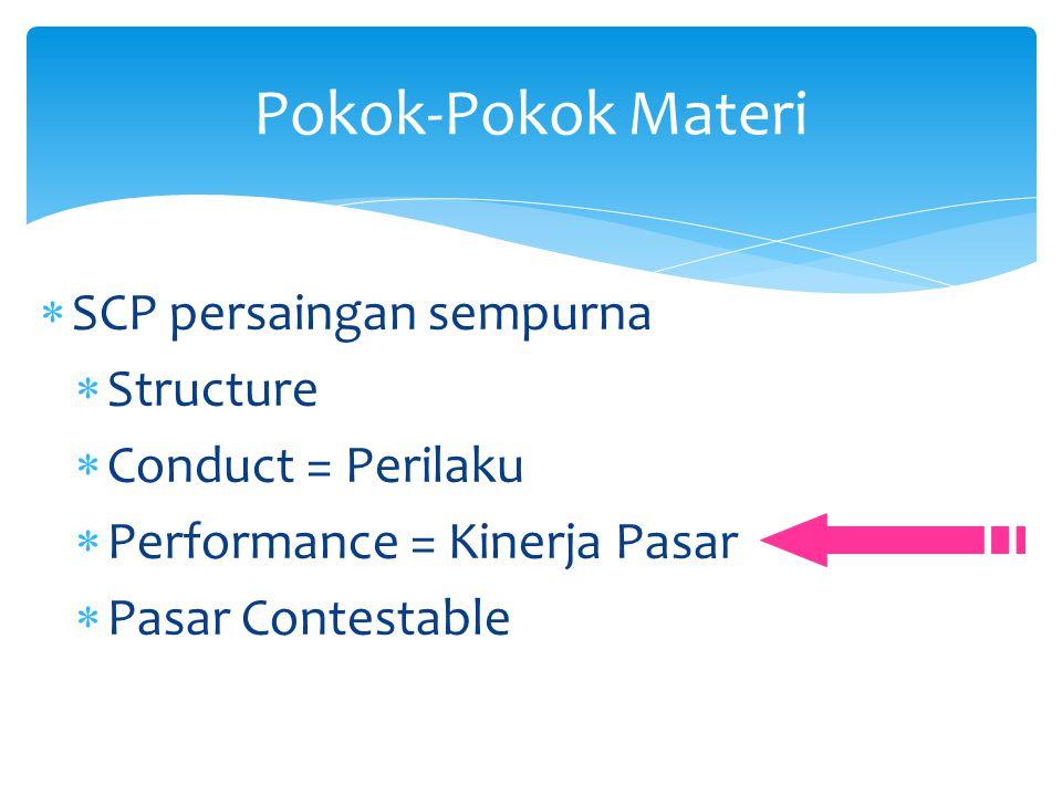  SCP persaingan sempurna  Structure  Conduct = Perilaku  Performance = Kinerja Pasar  Pasar Contestable Pokok-Pokok Materi