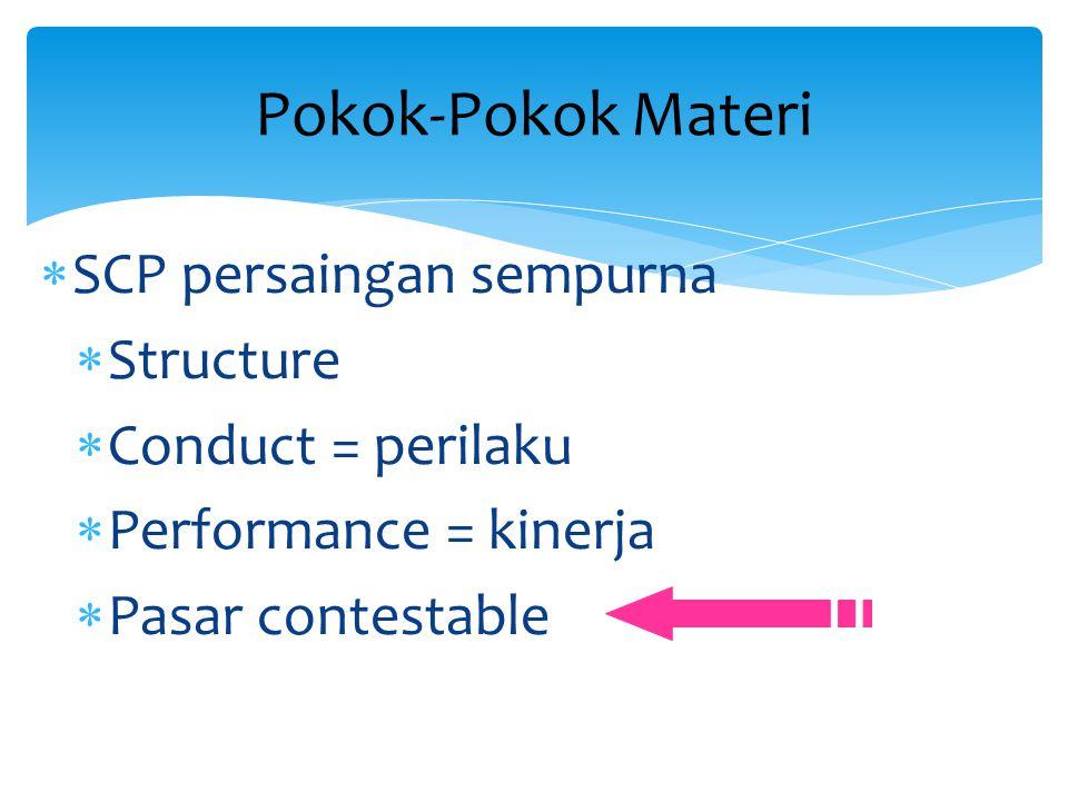  SCP persaingan sempurna  Structure  Conduct = perilaku  Performance = kinerja  Pasar contestable Pokok-Pokok Materi