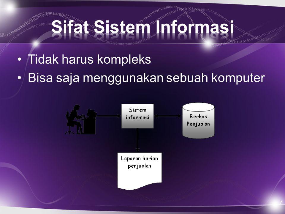 Komponen-komponen sistem informasi berbasis komputer (CBIS) terdiri dari: 1.Hardware : terdiri dari input, proses, output, jaringan 2.Software : terdiri dari sistem operasi, utilitas dan aplikasi 3.Data : mencakup struktur data, keamanan dan integritas data 4.Prosedur : Seperti dokumentasi prosedur/proses sistem, buku petunjuk operasional 5.Manusia : operator, pemimpin sistem informasi
