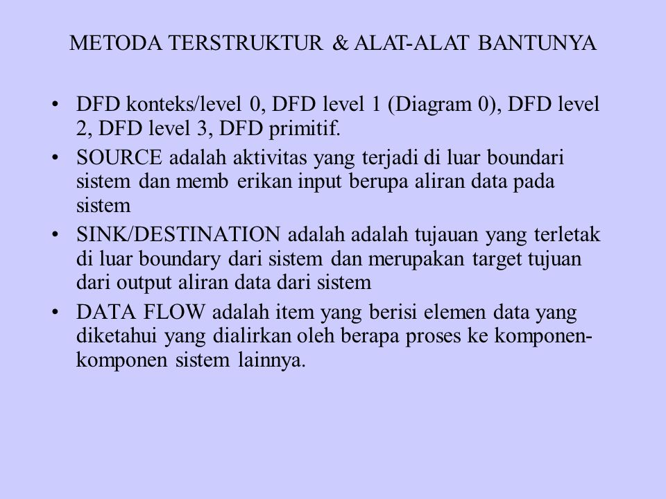 DFD konteks/level 0, DFD level 1 (Diagram 0), DFD level 2, DFD level 3, DFD primitif.