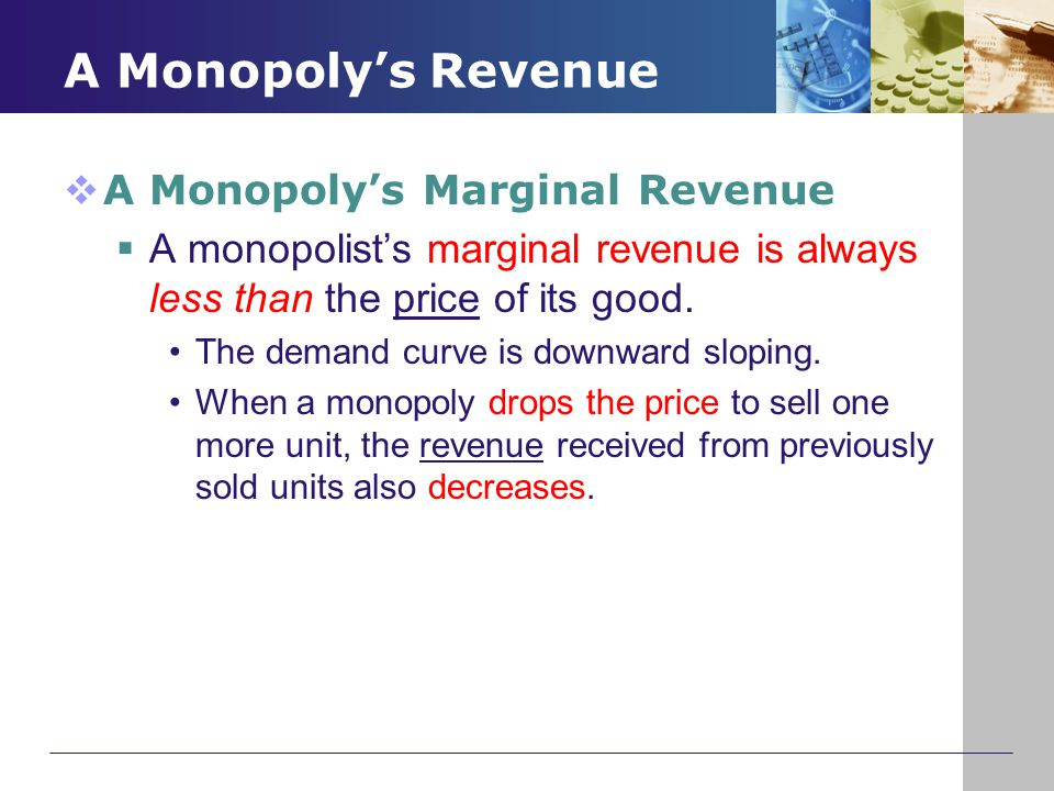 A Monopoly's Revenue  A Monopoly's Marginal Revenue  A monopolist's marginal revenue is always less than the price of its good. The demand curve is