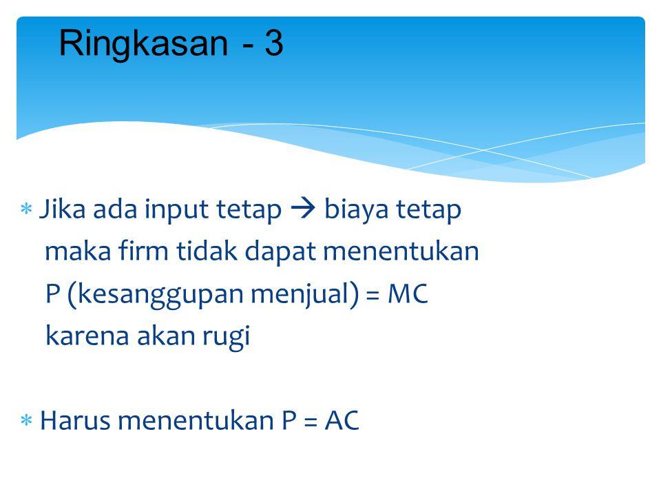  Jika ada input tetap  biaya tetap maka firm tidak dapat menentukan P (kesanggupan menjual) = MC karena akan rugi  Harus menentukan P = AC Ringkasa
