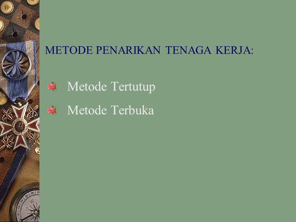 METODE PENARIKAN TENAGA KERJA: Metode Tertutup Metode Terbuka