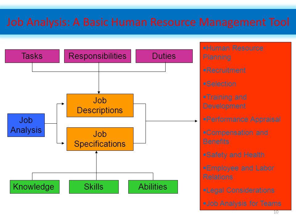 10 Job Analysis: A Basic Human Resource Management Tool TasksResponsibilitiesDuties Job Analysis Job Descriptions Job Specifications KnowledgeSkillsAb
