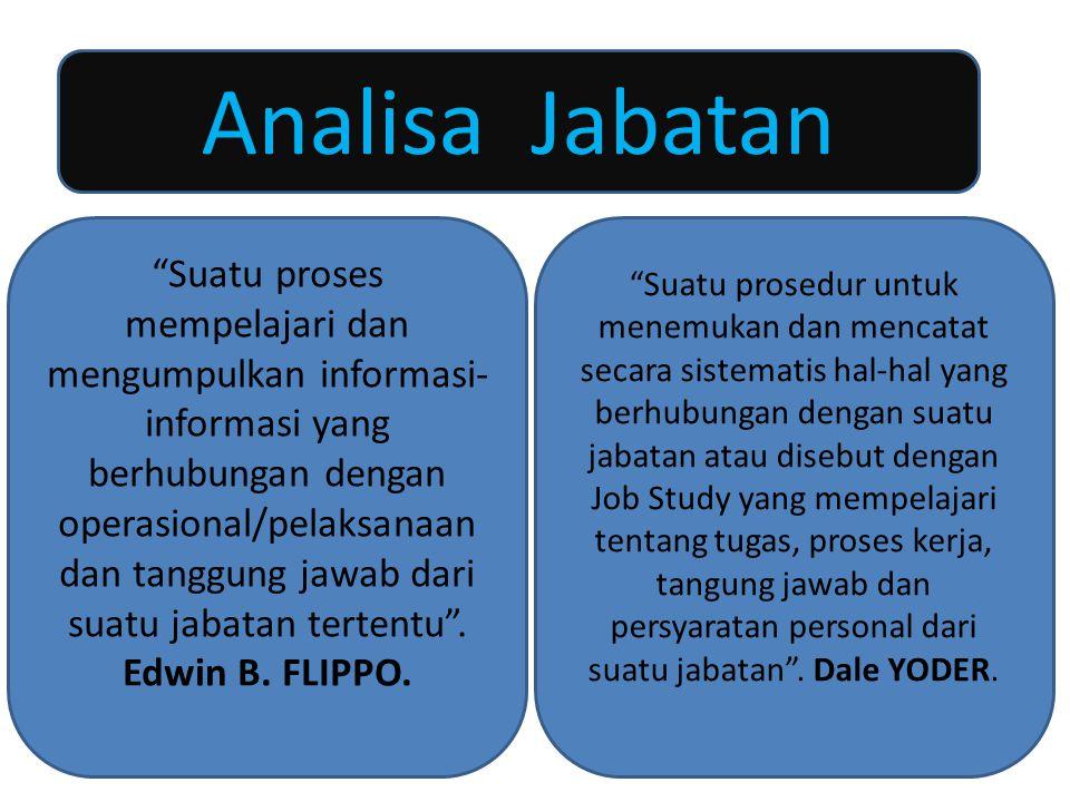 """4 Analisa Jabatan """"Suatu proses mempelajari dan mengumpulkan informasi- informasi yang berhubungan dengan operasional/pelaksanaan dan tanggung jawab d"""