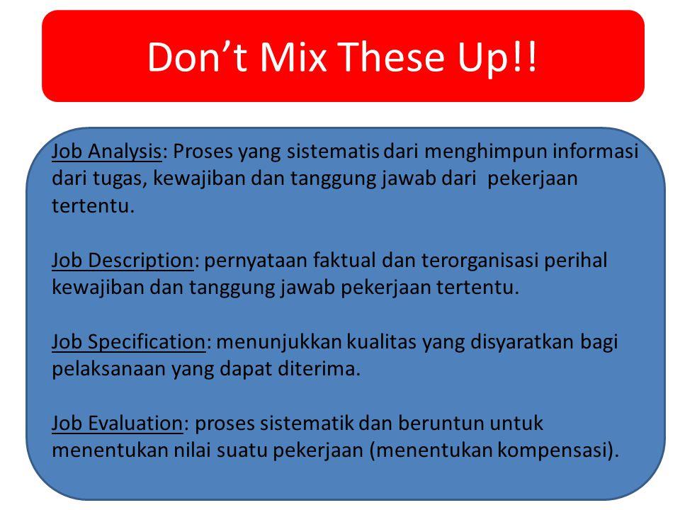 Don't Mix These Up!! Job Analysis: Proses yang sistematis dari menghimpun informasi dari tugas, kewajiban dan tanggung jawab dari pekerjaan tertentu.