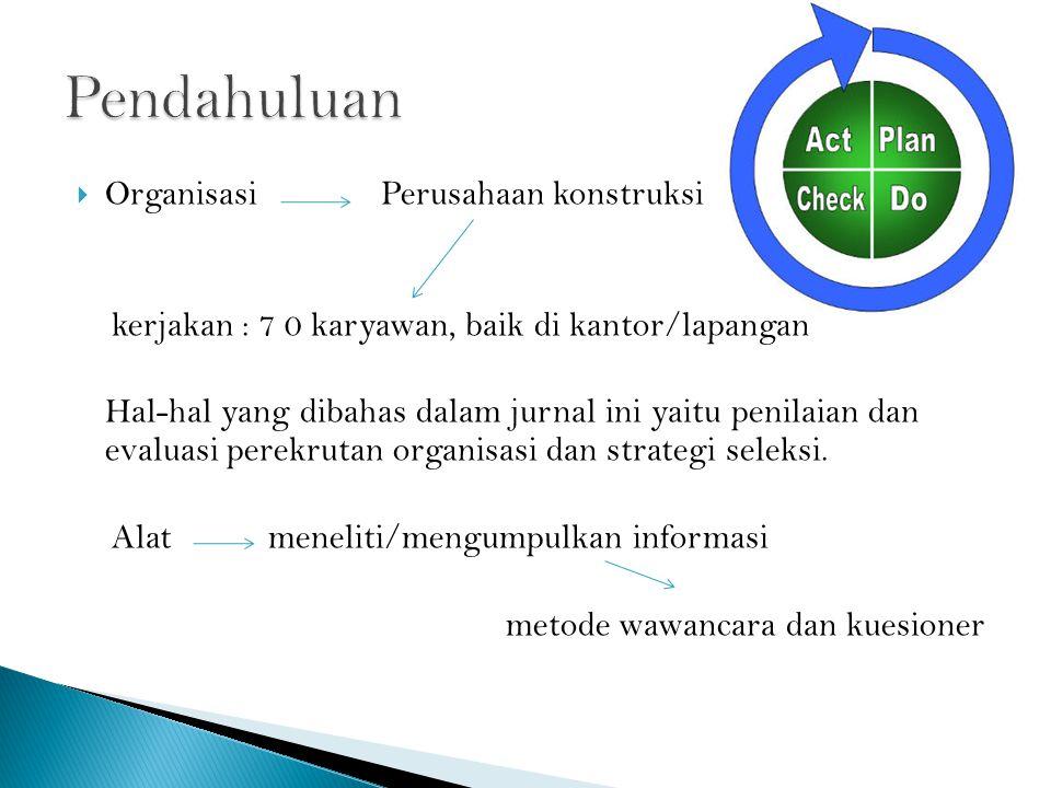  Organisasi Perusahaan konstruksi kerjakan : 7 0 karyawan, baik di kantor/lapangan Hal-hal yang dibahas dalam jurnal ini yaitu penilaian dan evaluasi perekrutan organisasi dan strategi seleksi.
