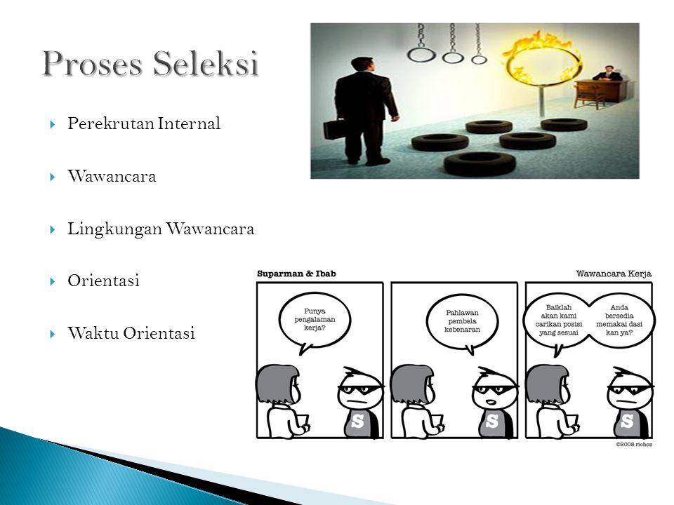  Perekrutan Internal  Wawancara  Lingkungan Wawancara  Orientasi  Waktu Orientasi