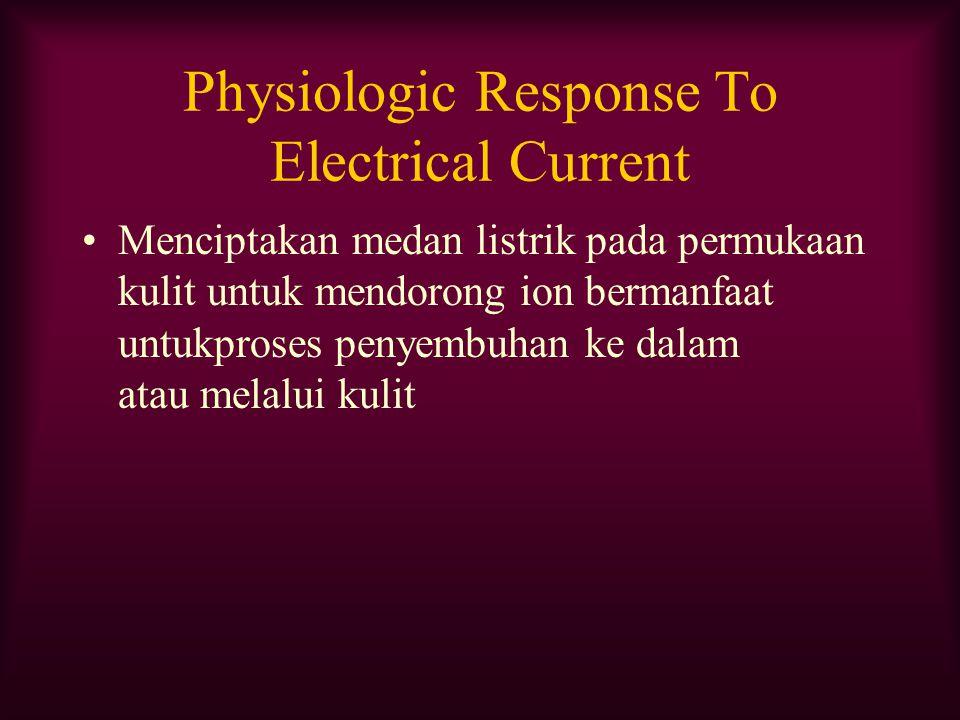 Physiologic Response To Electrical Current Menciptakan medan listrik pada permukaan kulit untuk mendorong ion bermanfaat untukproses penyembuhan ke da